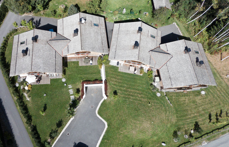 Aerial view of the Chalets des Liarets!